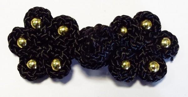 Posamentenverschluß mit goldenen Perlen (schwarz)